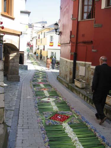 Calle decorada con motivos florales en tonos verdes, rojos, blancos, morados, etc. - Se abre en una nueva ventana