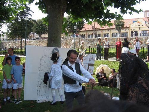 grupo de teatro representado  a goya pintado a la maja - Se abre en una nueva ventana